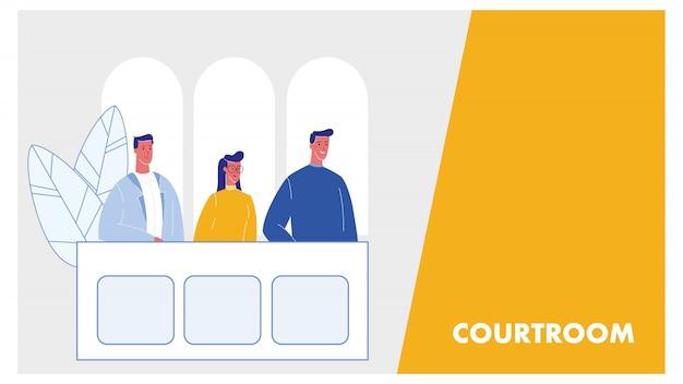 Diseño web de la sala del tribunal con espacio de texto