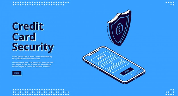 Diseño web con seguridad de tarjeta de crédito, teléfono y robot