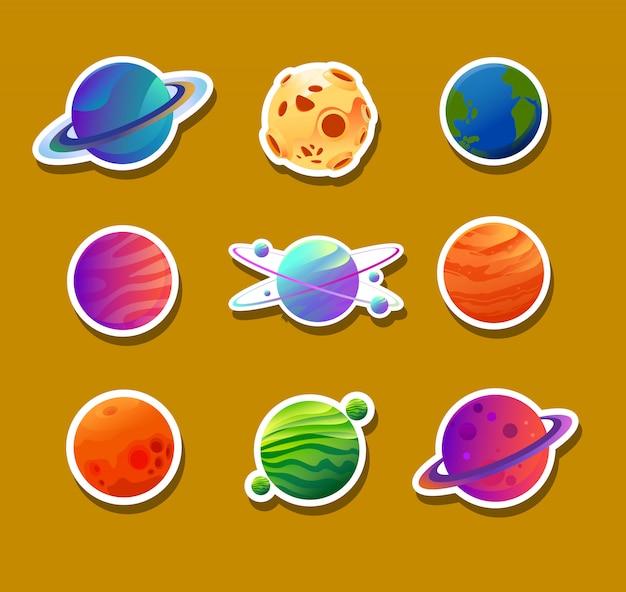 Diseños de adhesivos de varios planetas.