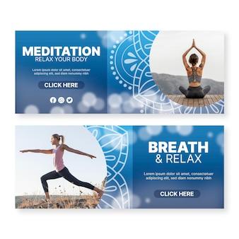 Diseños de banners de meditación de yoga