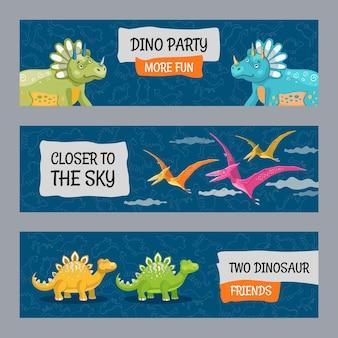 Diseños de banners promocionales con lindos dinosaurios.