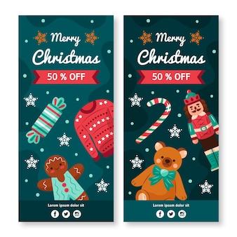 Diseños de banners de rebajas de navidad