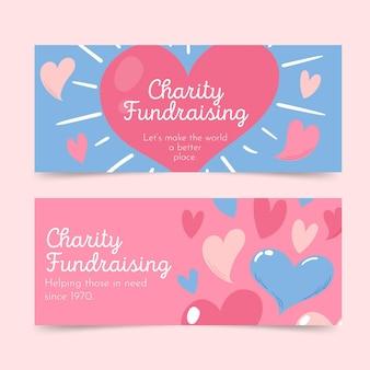 Diseños de banners de recaudación de fondos de caridad.