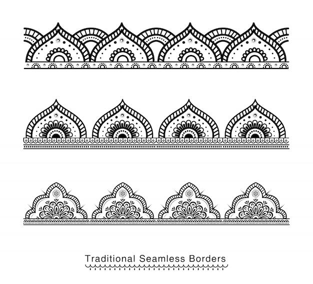 Diseños de borde de mandala sin costura
