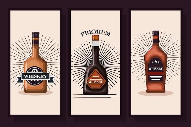 Diseños de botellas de licor de whisky