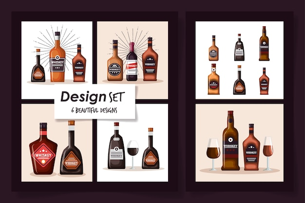 Diseños de botellas de whisky y copa de vidrio
