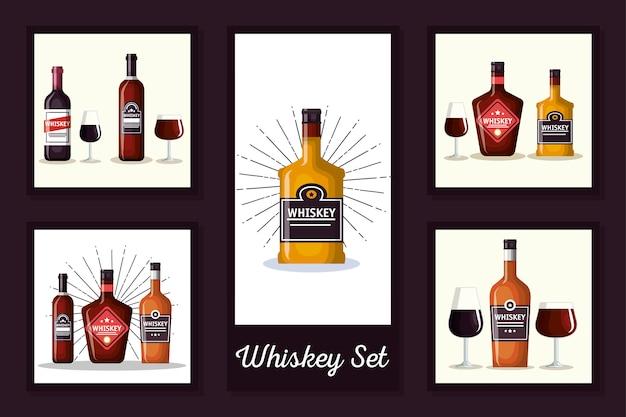 Diseños de botellas de whisky y vasos de vidrio.