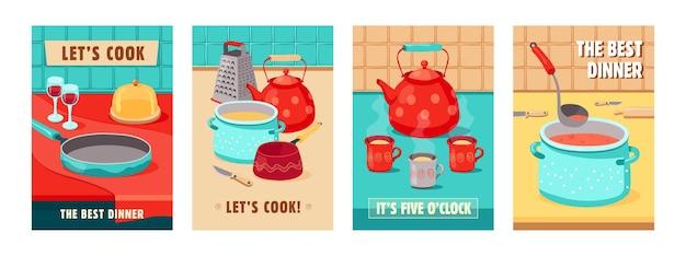 Diseños de carteles de moda con utensilios de cocina. carteles vívidos con tetera, olla, rallador, tazas, copas de vino. cocina, concepto de cena