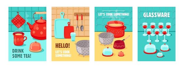 Diseños de carteles de moda con varios utensilios de cocina. folletos vívidos con tetera, olla, tazas, cristalería. concepto de herramientas de cocina, cocina
