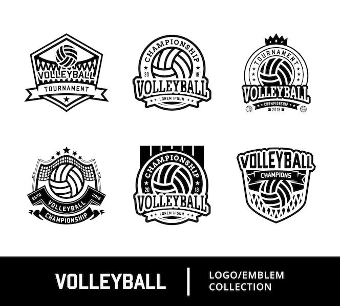 Diseños de logotipo deportivo de voleibol en blanco y negro
