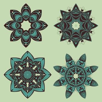 Diseños decorativos de mandala floral