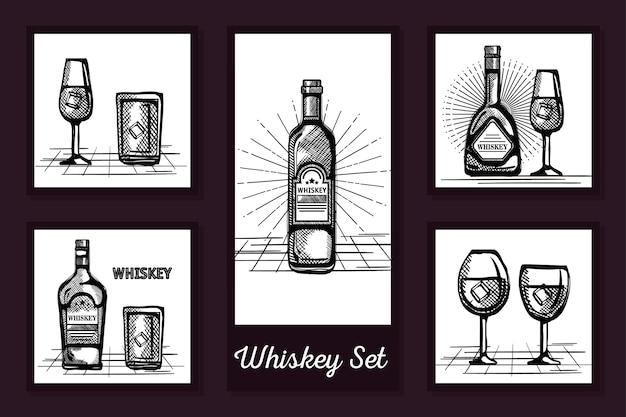 Diseños dibujados de botellas de whisky y vasos de vidrio.