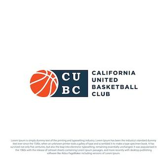 Diseños del emblema del logotipo del club de baloncesto con diseño minimalista del ejemplo del vector de la insignia del deporte de la bola