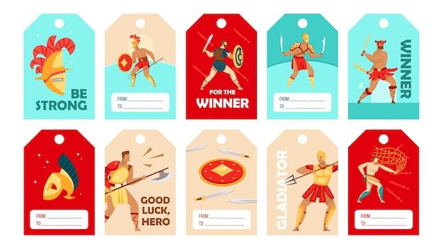 Diseños de etiquetas especiales con estilo con gladiadores del coliseo