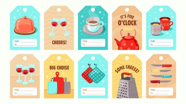 Diseños de etiquetas especiales con estilo con utensilios de cocina