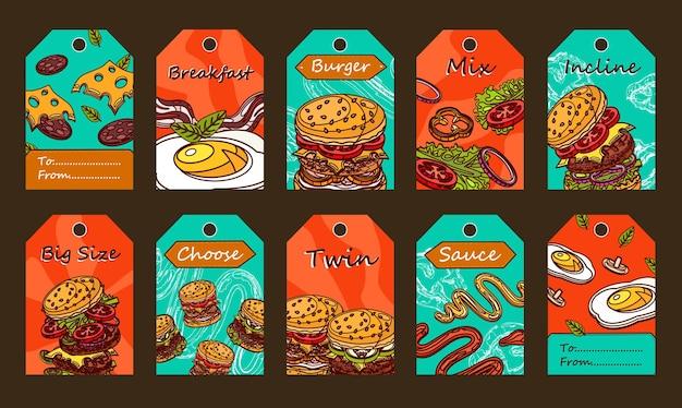 Diseños de etiquetas especiales con hamburguesas. ingredientes en rodajas, salsa y huevo frito sobre fondo de colores.