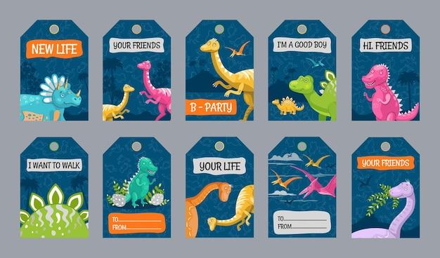 Diseños de etiquetas especiales con personajes de dinosaurios