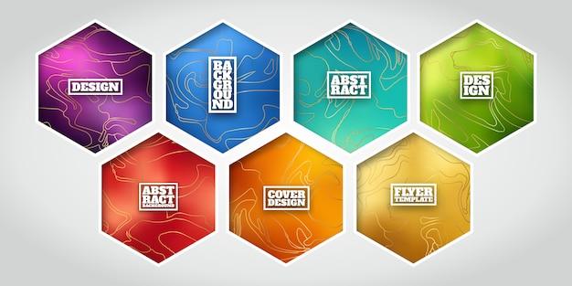 Diseños de etiquetas hexagonales con mármoles dorados imitando líneas.