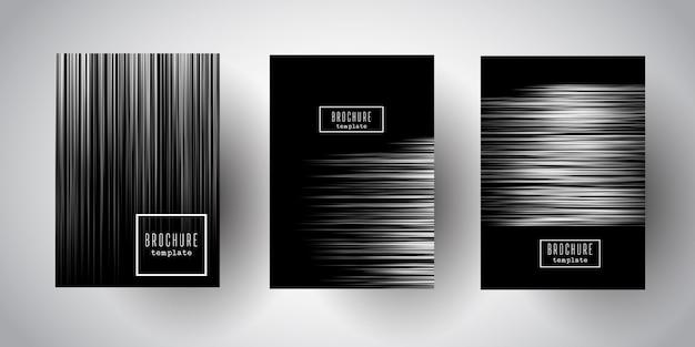 Diseños de folletos a rayas de plata
