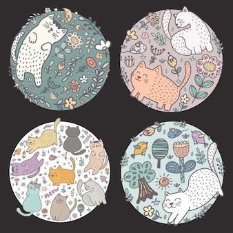 Diseños de forma de círculo con gatos graciosos. ilustración vectorial