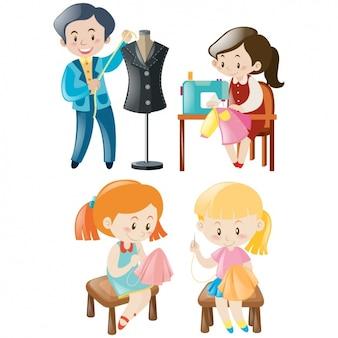 Diseños de gente cosiendo