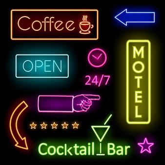 Diseños gráficos de luces de neón que brillan intensamente de colores para letreros de cafe y motel sobre fondo negro.