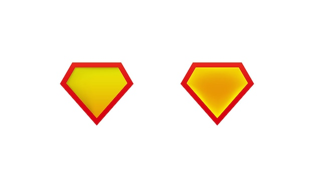 Diseños icono de escudo de superman con sombra. maquetas de etiquetas de superhéroe. vector sobre fondo blanco aislado. eps 10.