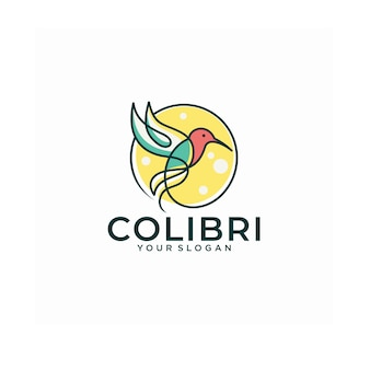 Diseños de icono de logotipo de línea de colibrí