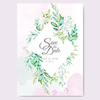 Diseños de invitación de boda con acuarela floral y hojas