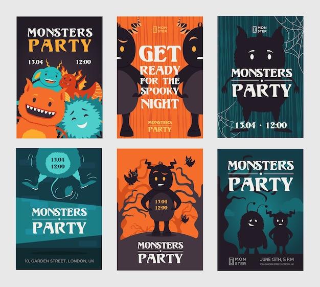 Diseños de invitación de fiesta de monstruo espeluznante con bestias. invitaciones de noche espeluznantes con estilo con texto. celebración y concepto de halloween. plantilla para folleto, pancarta o volante