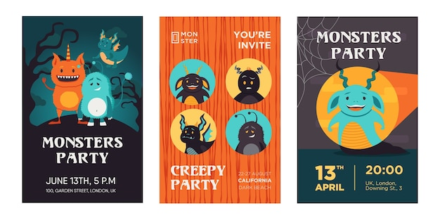 Diseños de invitación de fiesta de monstruos coloridos con criaturas divertidas. invitaciones de fiesta espeluznantes brillantes con texto. celebración y concepto de halloween. plantilla para folleto, pancarta o volante