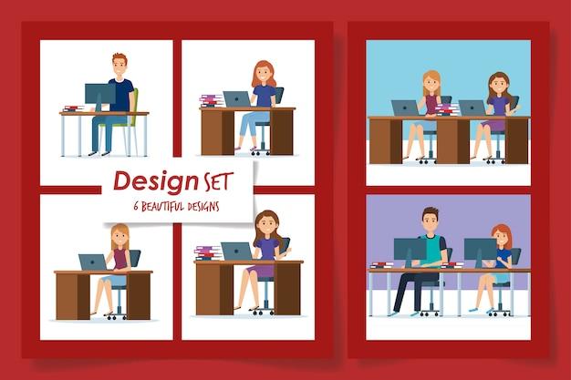 Diseños de jóvenes en el lugar de trabajo
