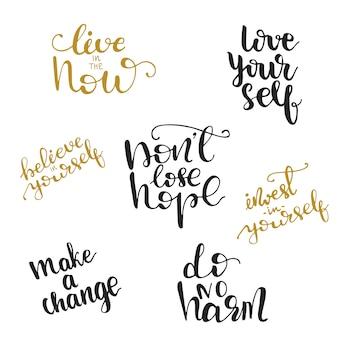 Diseños de letras motivacionales. ilustración vectorial