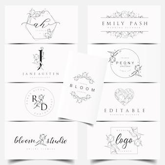 Diseños de logos botánicos femeninos.