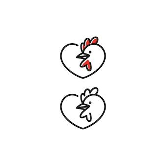 Diseños de logotipo de amor de gallo