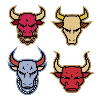 Diseños de logotipo de cabeza de toro con cadena en el cuello
