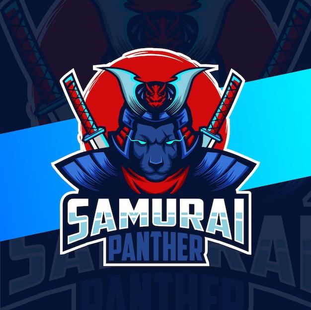 Diseños de logotipo de esport de mascota de pantera samurai