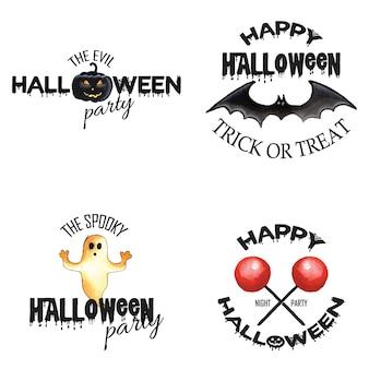 Diseños del logotipo de halloween de la acuarela