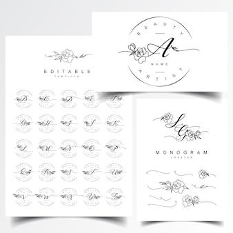Diseños de logotipo de monograma y carta de boda