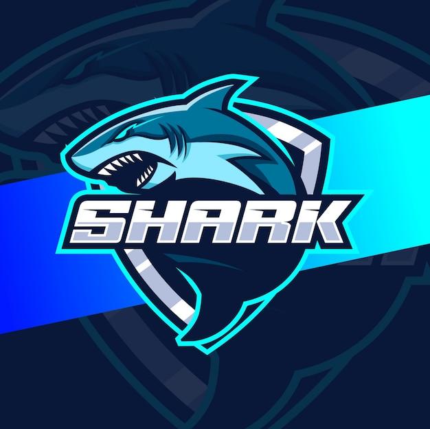 Diseños de logotipo de tiburón mascota esport