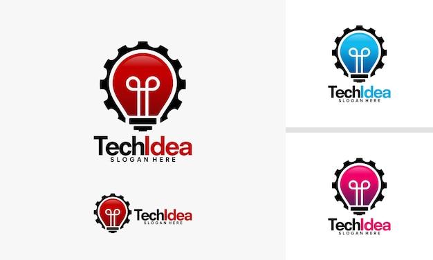 Diseños de logotipos de idea de tecnología, vector de logotipos de idea y gear