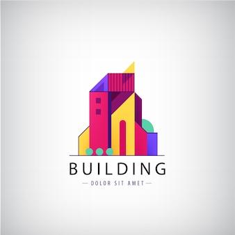 Diseños de logotipos inmobiliarios multicolores para identidad visual empresarial, edificio.
