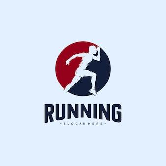Diseños de logotipos de silueta de hombre corriendo