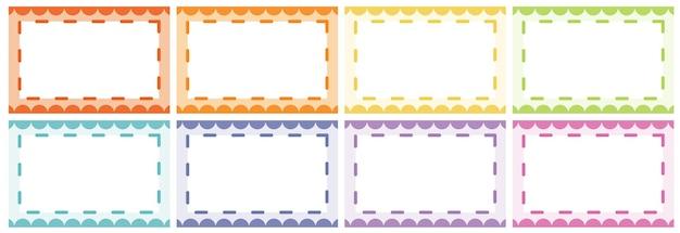 Diseños de marcos en diferentes colores.