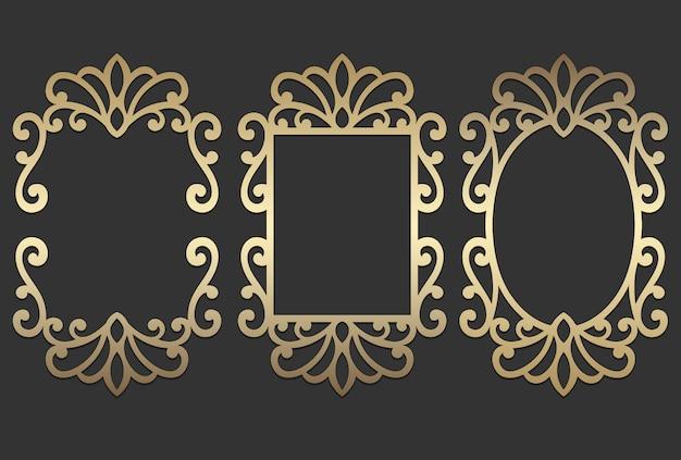 Diseños de marcos ornamentados con corte láser. diseño vintage para grabado.