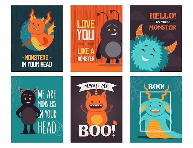 Diseños modernos de tarjetas de felicitación con monstruos. postales de abucheos creativos con texto y criaturas divertidas. concepto de halloween y vacaciones. plantilla para postal o folleto promocional