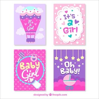 Diseños morados de tarjetas de bienvenida al bebé
