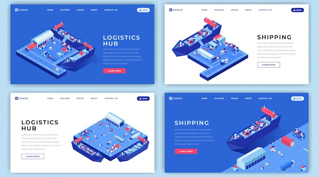 Diseños de página de aterrizaje de envíos marinos establecidos. idea de la interfaz de la página de inicio de la logística del envío con ilustraciones isométricas.