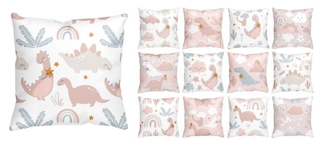 Diseños de patrones sin fisuras de dinosaurios lindos para guardería de niña