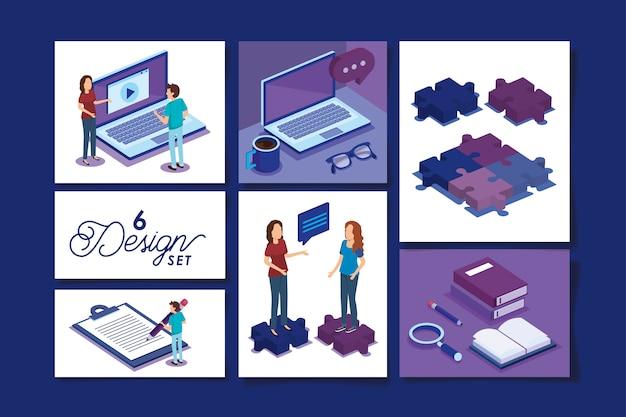 Diseños de personas con equipos de oficina